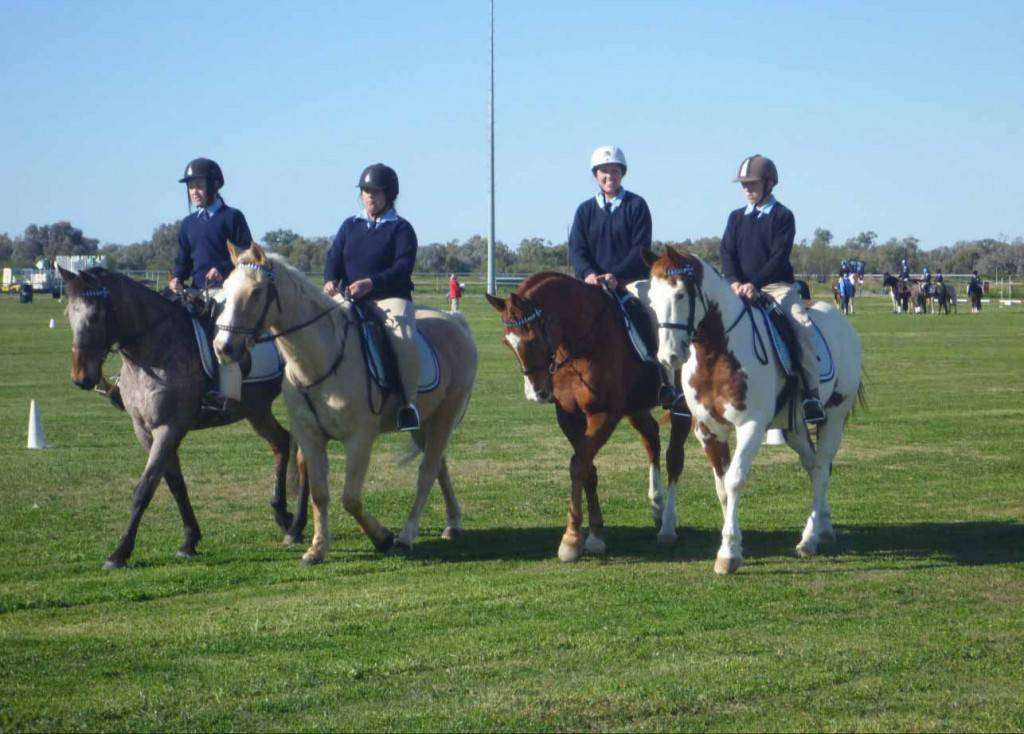 Cobar High School students along with a St John's Primary School student attended the Bourke Public School Horse Sports day recently. Pictured are high school students Tayla Toomey riding Possum, Chloe McMurray with her horse Joey, Stephanie Bastian riding Drover and James Stockdale on Digger. ▪ Photo contributed