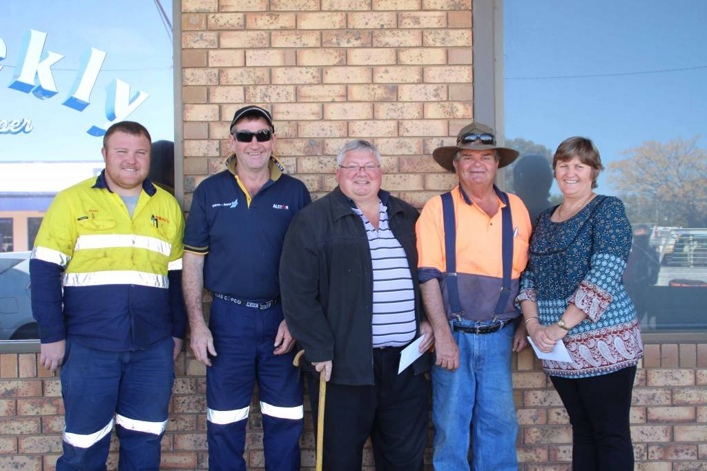 Cobar Fergies Club members Jack Cohen (second from left) and Dog Lawrence (second from right) donated $500 each to the Cobar Auto Club and the Cobar Amateur Pistol Club. Greg Prisk (far left) and Jo-Louise Brown (far right) accepted the donation on behalf of the Cobar Auto club. Mrs Brown said the money will go towards their insurance and electrical costs. Cobar Amateur Pistol Club member Tony Punzet (centre) was also pleased to accept the donation and said the club will put the donation towards training and the  purchasing of equipment for their junior members.