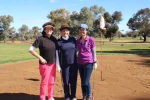 Pictured on the 18th hole on Sunday playing in the Ladies Open B Grade competition were Jenny Murray (Coonamble) with Evelyn Hyde and Wan Sipatsa.