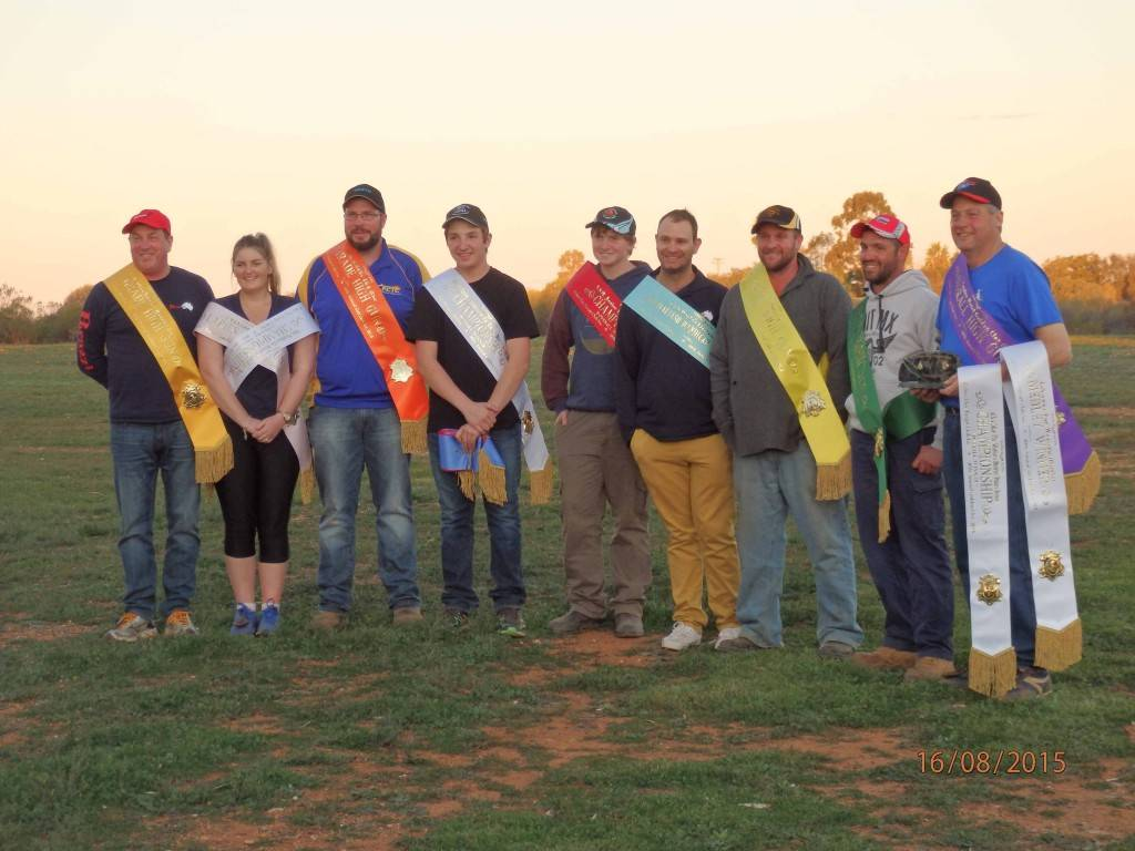 The 2015 Golden Clay Target Highgun winners: Steve Haberman, Kate Edwards, James Catterall, Mitchell Isles, Andrew Evans,  Michael McGuire, Beau Brown, Sam Nardi and Rob Thompson. ▪ Photo contributed