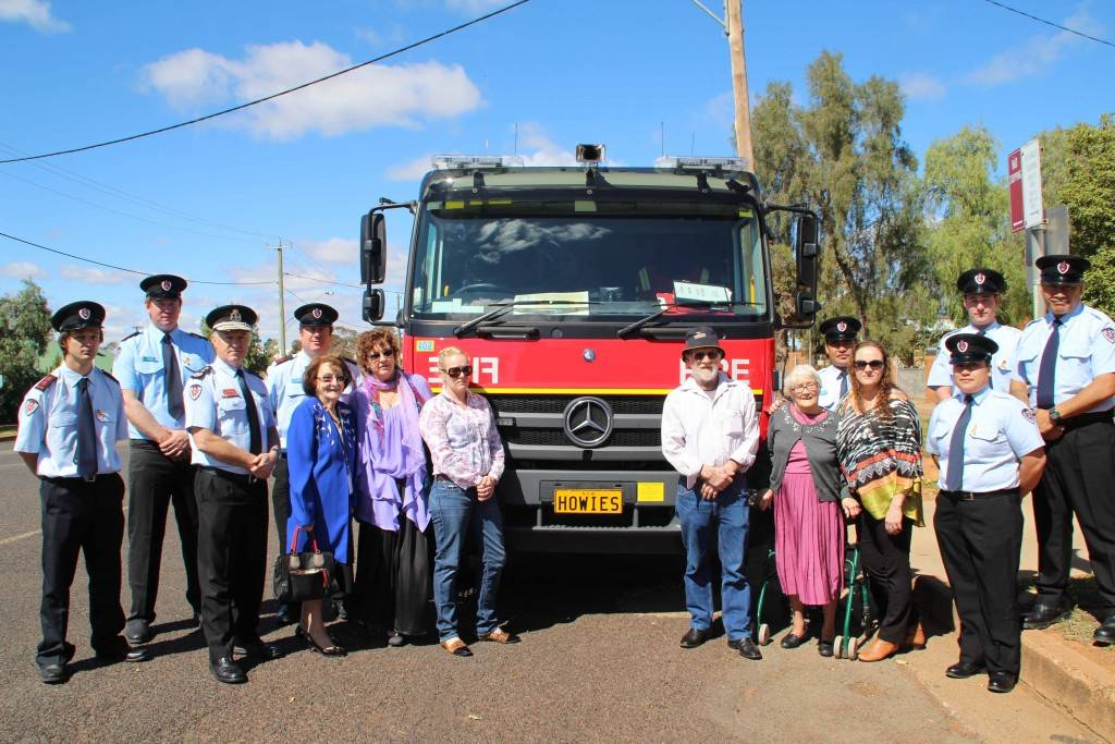 Fire & Rescue NSW (FRNSW) Commissioner Greg Mullins was in Cobar yesterday to hand over keys to a new 'Class 2' pumper $310,000 Mercedes Benz fire truck. The new truck carries a personalised 'Howies' number plate to honour Cobar Fire Station 256 fallen firefighter Daniel 'Howie' Howard. The new truck is the first vehicle in FRNSW history to carry a personalised registration plate. Commissioner Mullins is pictured above with the 256 Station crew, mayor Lilliane Brady and members of Mr Howard's family at yesterday's unveiling ceremony at the Cobar Fire Station.