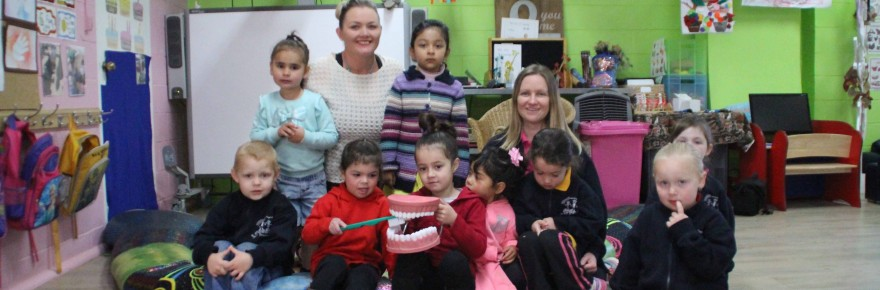 Cobar Mobile Children's Services Ngalii Pre-school students are pictured with their teachers Kylie Lynch and Bec Miller who are excited to be one of 33 regional  pre-schools who will be receiving a $7,000 grant from the state government.