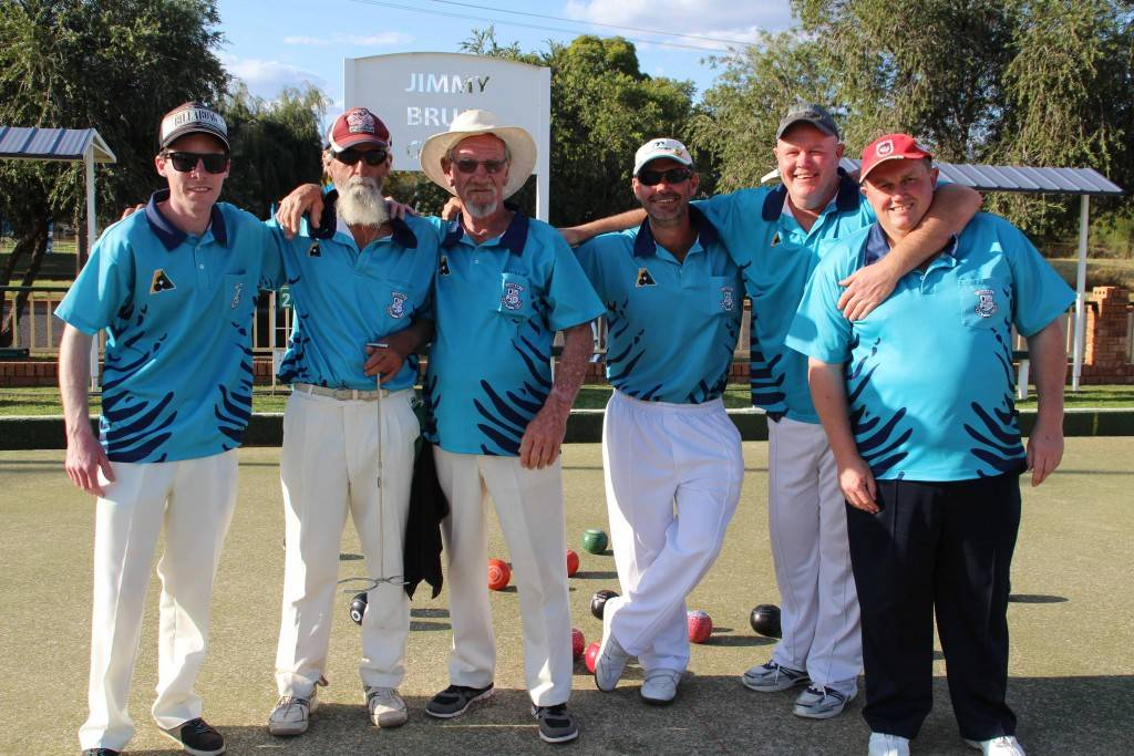 Jack Tulloh, Kevin Kershaw, Peter 'Pottsy' Arnold, Alan Knight, Craig Dillon and Greg Read playing Triples Championships bowls on Sunday at the Golfie.
