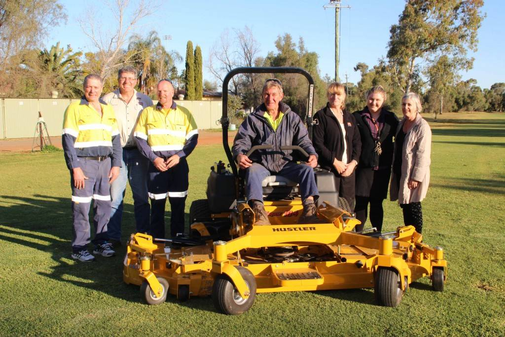 The Cobar Bowling & Golf Club took delivery of a new ride-on mower last Thursday that is bound to transform the fairways on the golf course. Pictured are members of the Inter Mine Golf Challenge Committee Kevin Walsh, Phil Gilligan and Chrissy Gilligan with men's golf captain Greg Bowkett, the club's secretary/manager Demi Smith, women's golf president Geraldine Francisco and groundsman Paul Hay with the new Hustler mower.