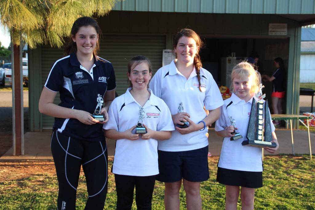 Cobar Junior Netball perpetual trophy winners Lauren Urquhart (Player with the Most Potential), Jordan Warren (Most Improved Junior), Alice Potter (Most Improved Senior) and Anja Kok (Most Consistent Player) at the club's presentations at Ward Oval on Friday afternoon.
