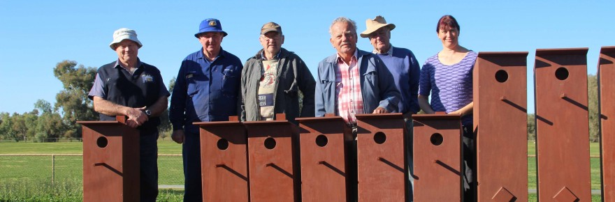 Copper City Men's Shed members have been busy building bird boxes for Cobar Shire Council to install at Drummond Park. Men's Shed members were happy to hand over the first batch of six small and six large bird boxes to council's special projects officer  Angela Shepherd on Tuesday.