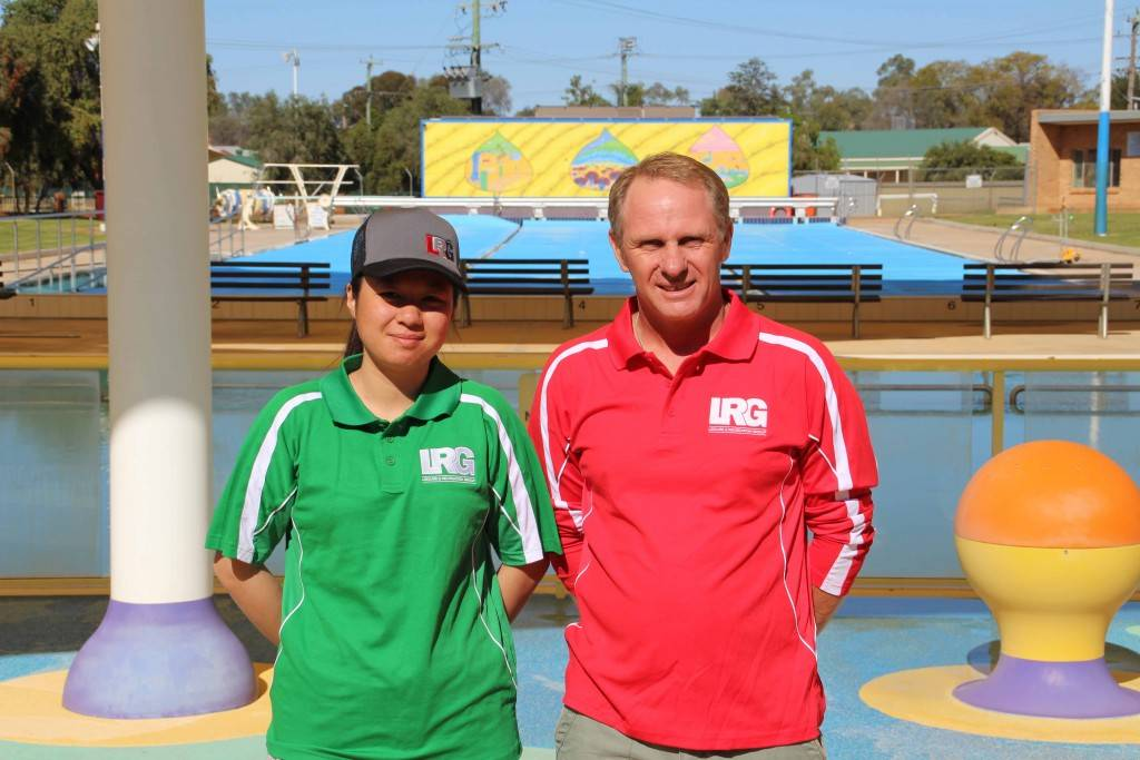 Daina Chen and partner David McEwan, who are employed by the L&R Group, will be managing the pool this summer. The pair have been busy preparing the Cobar Memorial Swimming Pool for opening this Saturday.