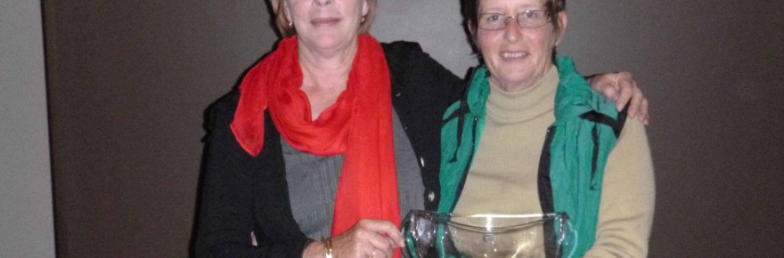 Jane McManus presented the Marie McManus Memorial women's golf trophy to Robynne Morton on Sunday. ▪ Photo contributed
