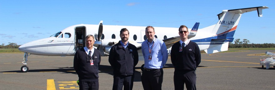 Air Link chief pilot Kirk Hazellon, CSA Mine finance manager Jason Camery, Air Link CEO David Brooksby and flight captain Tom Von Plomgren were all on hand to welcome Air Link's maiden flight into Cobar Airport on Monday morning.