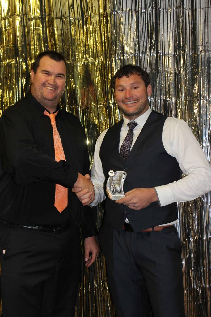 Cobar Camels Rugby Club president Jarrod Marsden with this year's Best & Fairest Player and Clubman, Justin Schick.