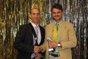 Cobar Camels coach Damian Wray with the 2015 Players' Player of the Year, Best Back and Top Point Scorer, Tom Wall.
