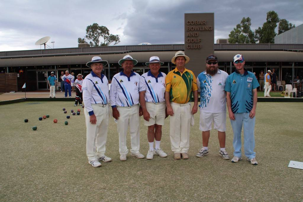 The Cobar team of Don Roberts, Dave Portelli and Kyle Roberts (pictured at the right of the photo) were the overall winners of the Cobar Bowling & Golf Club's Neville Layton Memorial Triples bowls tournament over the weekend. They are pictured with the Yenda team of Dante Surian, Peter Badoco and Ian Silvestro who they knocked out in the semis.