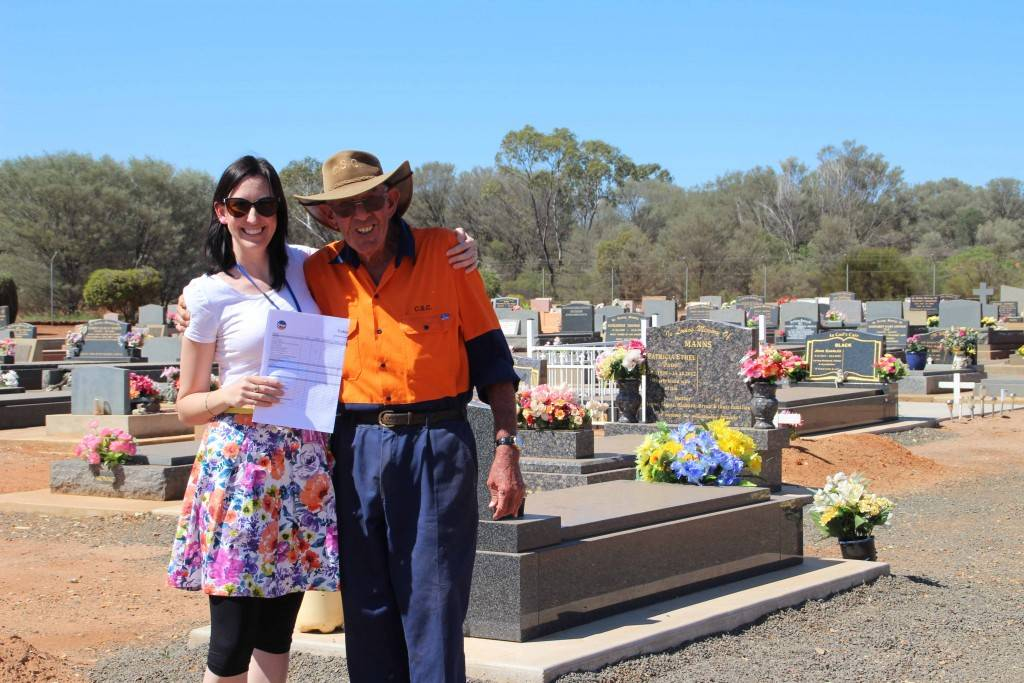 Cobar Shire Council's human resource manager Michelle Maidens presented Bruce Shuttle with the Cobar Shire Council Employee of the Month Award last Thursday, at the Cobar cemetery. Mr Shuttle is employed as a labourer by the council and in his role maintains the cemetery grounds.