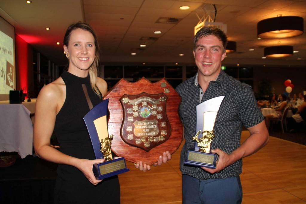 Cobar Roosters League Tag player Naomi Whitehurst and First Grader Wade Potter collected a number of awards at the Cobar Senior Rugby League Club presentations on Saturday night at the Cobar Bowling & Golf Club, including sharing the Eric Martin Memorial Shield as the 2015 Club Best & Fairest players.