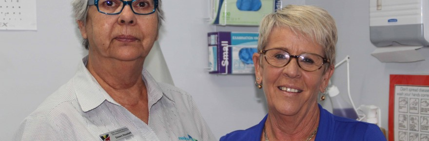 Cobar Primary Health Care Centre has welcomed full time Aboriginal Health Care Worker Dawn Howlett to the practice. Dawn is pictured above with one of the  centre's receptionists Robyn Strong last week.