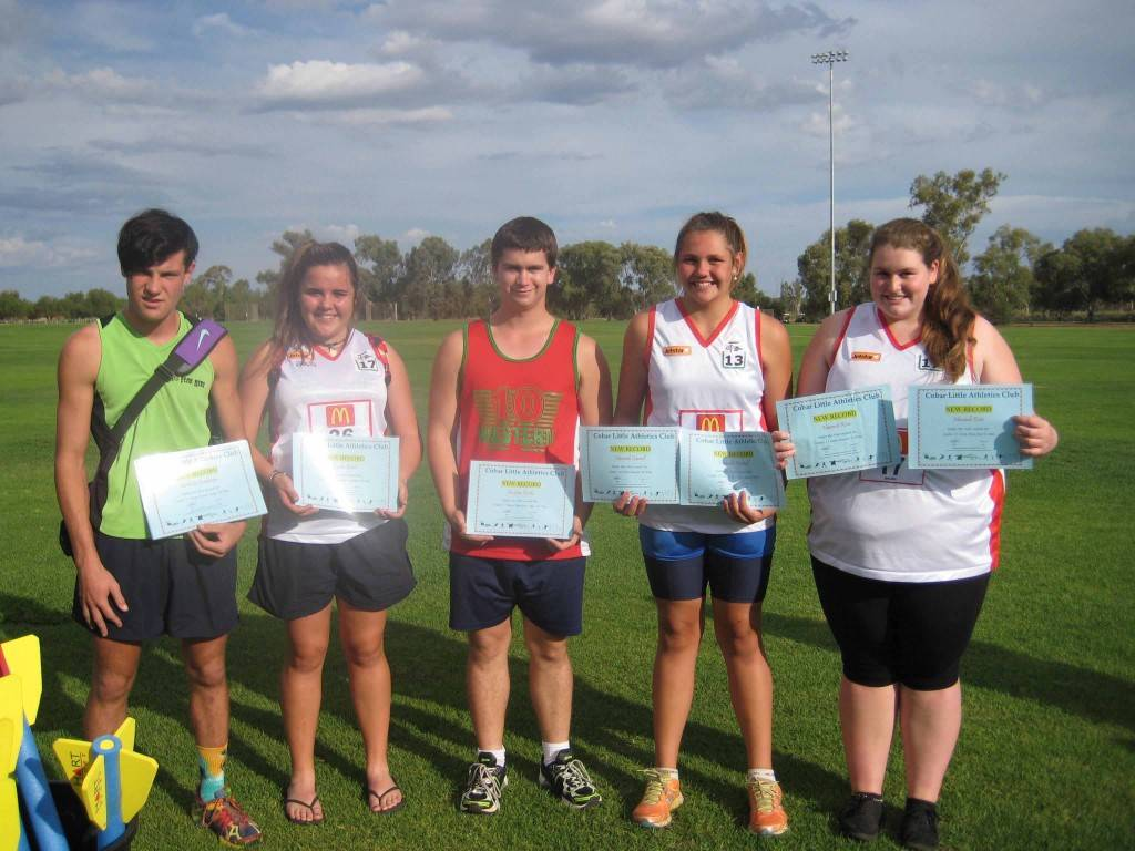 Cobar Little Athletics club record breakers Nick Buckman, Taylor Good, Andrew Rorke, Hannah Carroll and Hannah Kriz received their certificates for their achievements on Monday, at Ward Oval. ▪ Photo Contributed