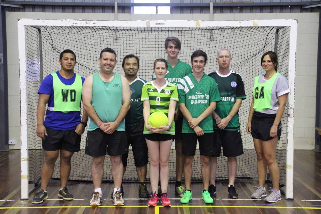 Mixed Indoor Soccer team Bayer Neverlosen won their match against M&C Parisi Floorboards team last Wednesday night at the Cobar Youth & Fitness Centre.