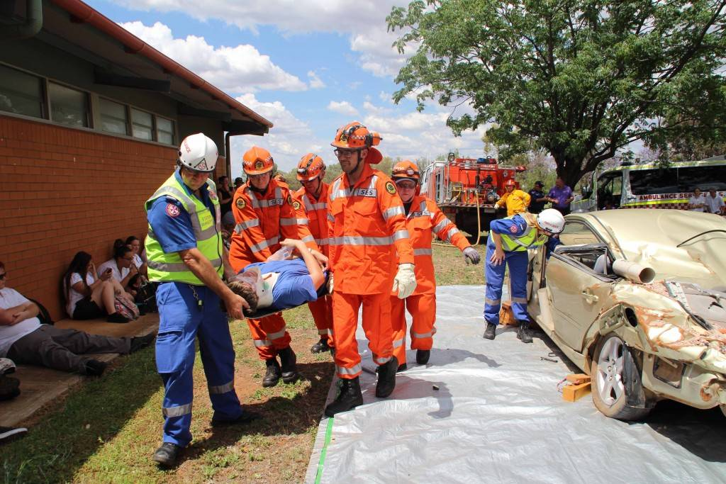 Local emergency services came together last Thursday to deliver the annual Young Driver Safety Workshop for Year 10 Cobar High School students at the school. Students were able to watch and participate as casualties in the afternoon's mock accident scene, where two casualties were rescued from a car crash.