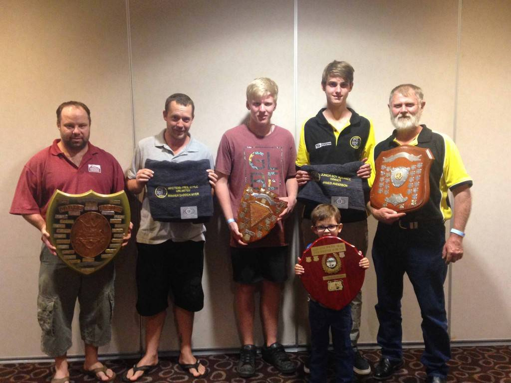 The Cobar Bowmans Club presentation was held at the Cobar Bowling & Golf Club last Saturday. Scott Meadows, Darren Myer, Josh Bain-Smith (holding a trophy on behalf of Scott Meadows), Trayce Aves (holding trophy on behalf of James Mitchell), James Anderson and Roger Anderson were award winners on the night.