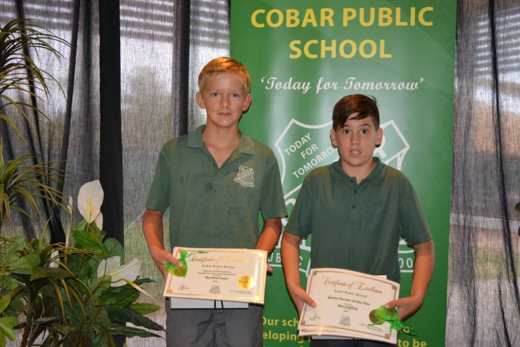 Raymond Jones collected the Cobar Public School and Robinson Family Award for excellence in Sporting Achievement 2015 and Ben Griffiths was named the school's Sports Person of The Year at Cobar Public's end of year presentation day at the Cobar Bowling & Golf Club last Tuesday. ▪ Photo contributed