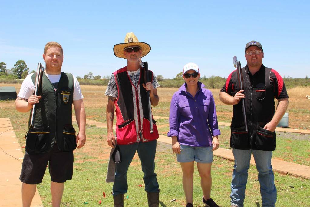 Joel Crawford, Brad Kendrick, Nicole and Chris Bruce competing in the 25metre Walk Forward event at the Cobar Clay Target Club's Christmas shoot on Sunday.
