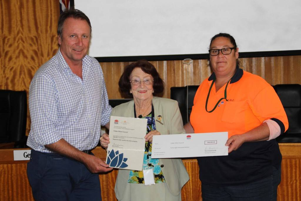 State Member for Barwon Kevin Humphries presented council's Mayor Lilliane Brady and Melissa Gunn with a $48,000 grant for Council's environmental education program last Wednesday at the Council Chambers.