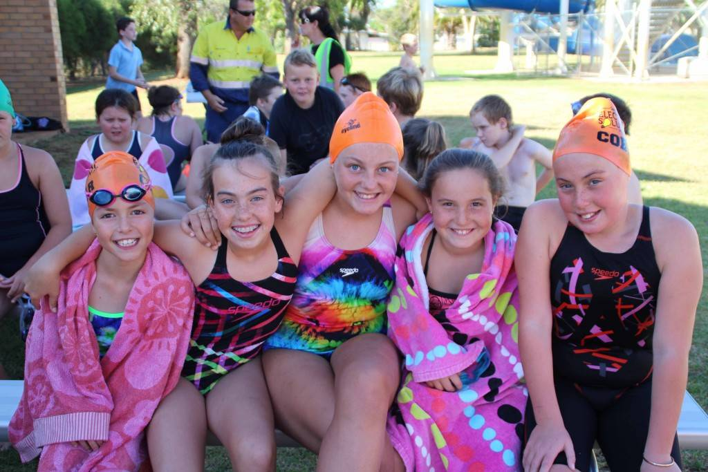 Cobar Swimming Club held their final competition swim for the year last Wednesday at the Cobar Memorial Swimming Pool. Mia Zannes, Jordan Warren, Imogen Budd, Molly Carter and Neve Carter are pictured waiting for their freestyle event.  Competition will resume in February 2016.