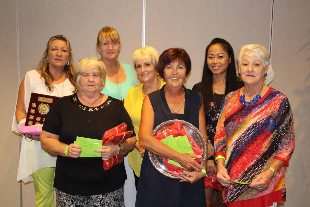 2015 women golfers prize winners Jannine Wilkin, Janine Ryan, Chrissy Gilligan, Joy Josephson, Sally Bannister Wan Sipatsa and Daphne Cross at the Golfie Sportsman's dinner on Friday.