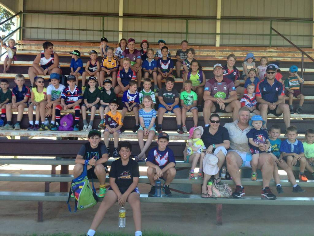 Cobar Junior Rugby League (CJRL) members got to meet NRL Manly Sea Eagles under 20's player Harry O'Toole and returning and  recently signed player Darcy Lussick at their club registrations at Tom Knight Memorial Oval on Monday afternoon. National Rugby League NSW coaches from Dubbo also ran the junior members through an afternoon of drills and ball games. CJRL members and their families had the opportunity at the end of the training session to have items signed by the Manly players. ▪ Photo contributed