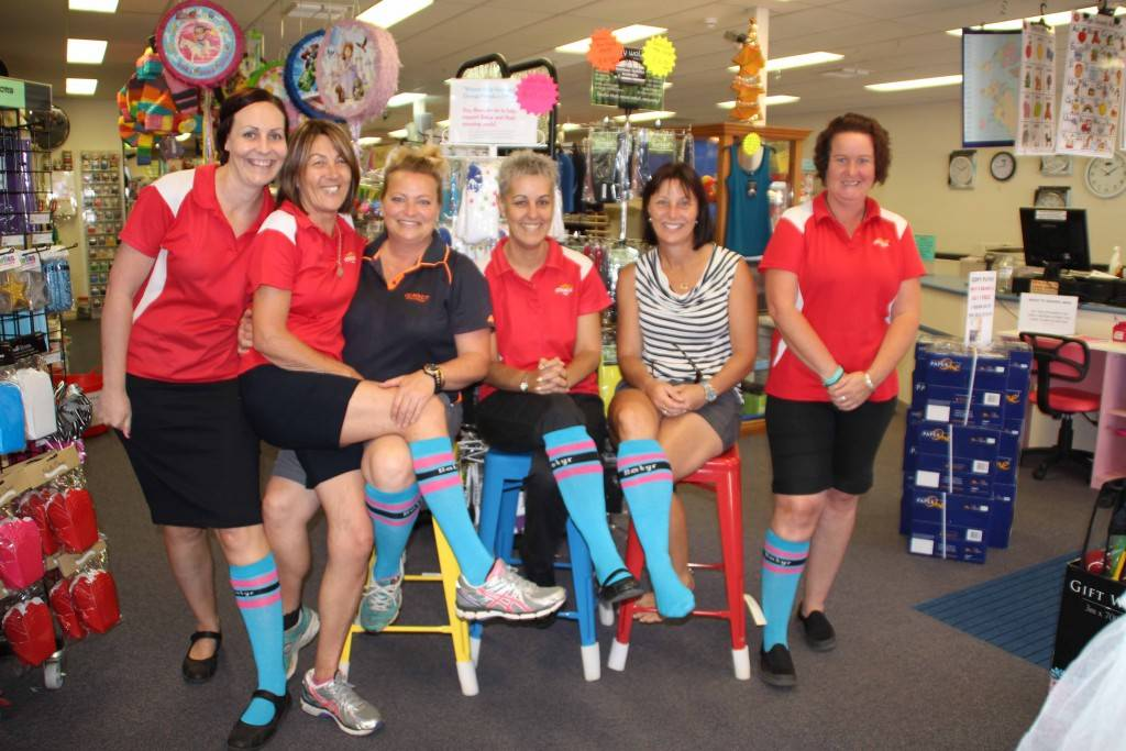Stationery Essentials and Gumnuts Gifts & Homewares staff Tara Arnold, Wendy Robinson, Kim Bellotti, Sharni Clark, Trudy Griffiths and Allison Murray held their first 'One Sock Wednesday' last week in support of Batyr.