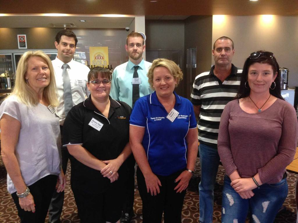 Service providers Kate McLean and Deanne Piper from TAFE Western NSW, Edward Thompson and Michael Spittles from Luka Group accountants with Cobar Business Association president Sharon Harland and retrenched workers Glenn and Keira Davis at last week's Redundancy Support Session at the Cobar Bowling & Golf Club.