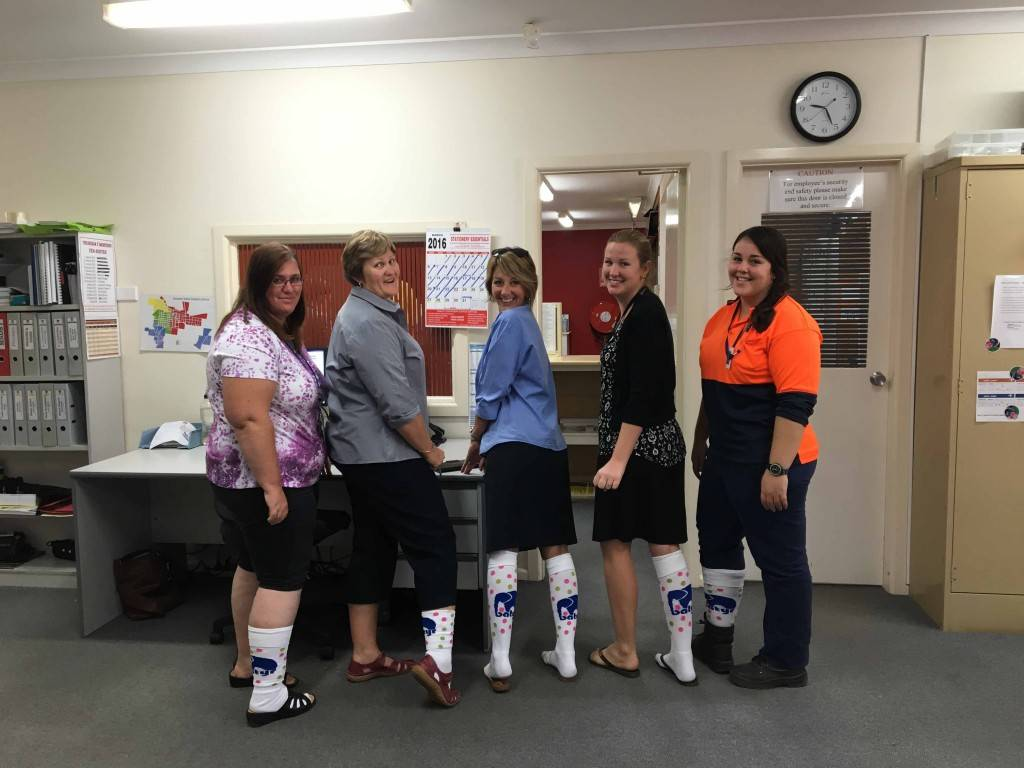 Cobar Shire Council staff Claudine Griffiths, Jo-Louise Brown, Karen Warren, Carly Hunter and Adrienne Pierina were among the locals who got behind One Sock Wednesday last week, which raises awareness and funds for the Batyr mental health program