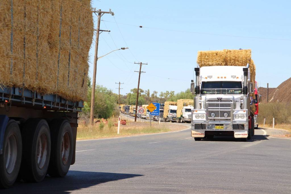 The Kidman Way is set to become a 170km long traffic jam today, but it's all for a good cause with the Burrumbuttock Hay Runners making their now famous trip from southern NSW to Ilfracombe in Queensland. The convoy of around 400 trucks and trailers kicked off their 1,700km trip yesterday and will arrive in Cobar today for lunch, repeating their visit to town in January where locals lined Cobar's main street to cheer the group on before joining them for lunch at the RTA rest area just west of Cobar. On this trip the group will deliver 14,000 bales of hay to drought stricken farmers in the Longreach region of Queensland, with the truck drivers volunteering their time and vehicles to make it happen.
