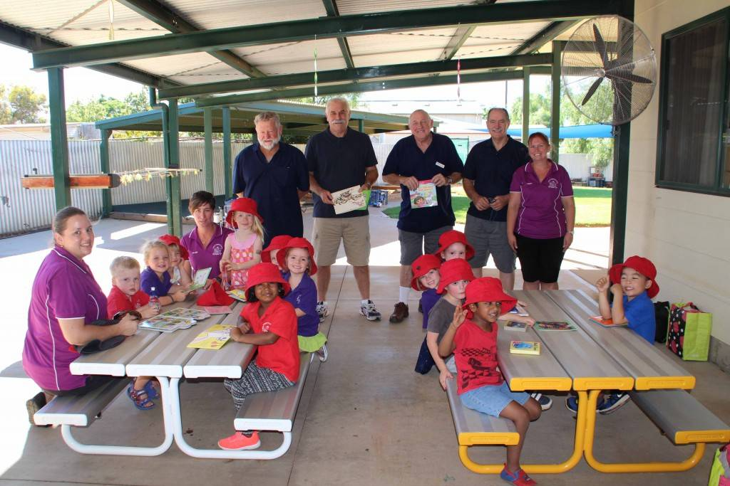 Cobar Preschool accepted a donation from Warren Russell, Peter Crawford, Ross Lane and Bill Iceton who delivered some books generously donated by Lifeline on Monday.