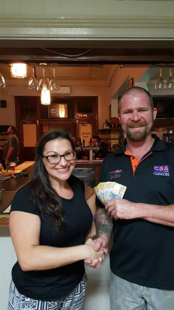 Great Western staff member Zebrina Wells presented RSL Cobar Sub Branch president Ben Hewlett with a $1,000 donation for the war memorial project.