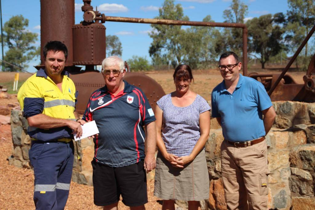 The proposed Miner's Memorial project at Cobar Heritage Park is gaining momentum with a funding boost last week from Peak Gold Mines. The mine's superintendent of environment and social responsibility Chris Higgins presented a donation of $15,000 to the project, with project driver Barry Knight and Cobar Shire Council's special projects officer Angela Shepherd and manager of planning and environmental services Stephen Poulter on hand to accept the donation. Mr Poulter said the group of university students who have been involved in the design of the project have been working on it in recent weeks to gain a better understanding of the history behind the project and will be visiting in coming weeks to finalise the design.
