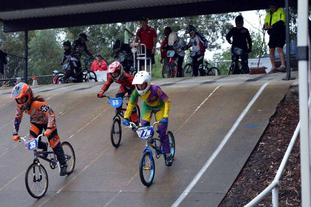 Georgie Buckman with the 7N number plate (at far right) competing at Round 2 of the NSW BMX Series Championships at Castle Hill on the weekend. ▪ Photo contributed