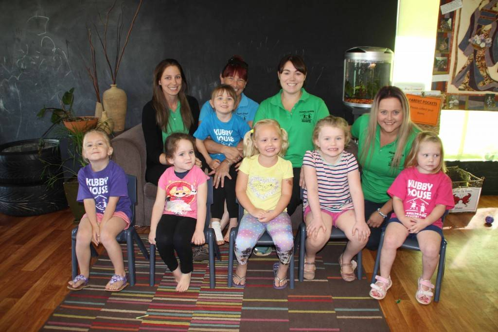 Kubby House staff members Tiara Ingold, Colette Cohen, Ashley Place and Brytt Moore with children Eliza Walsh, Bria Brookman, Lexie Crook, Zara Patterson, Holly Drady and Charlotte Kenny at the centre on Monday morning.