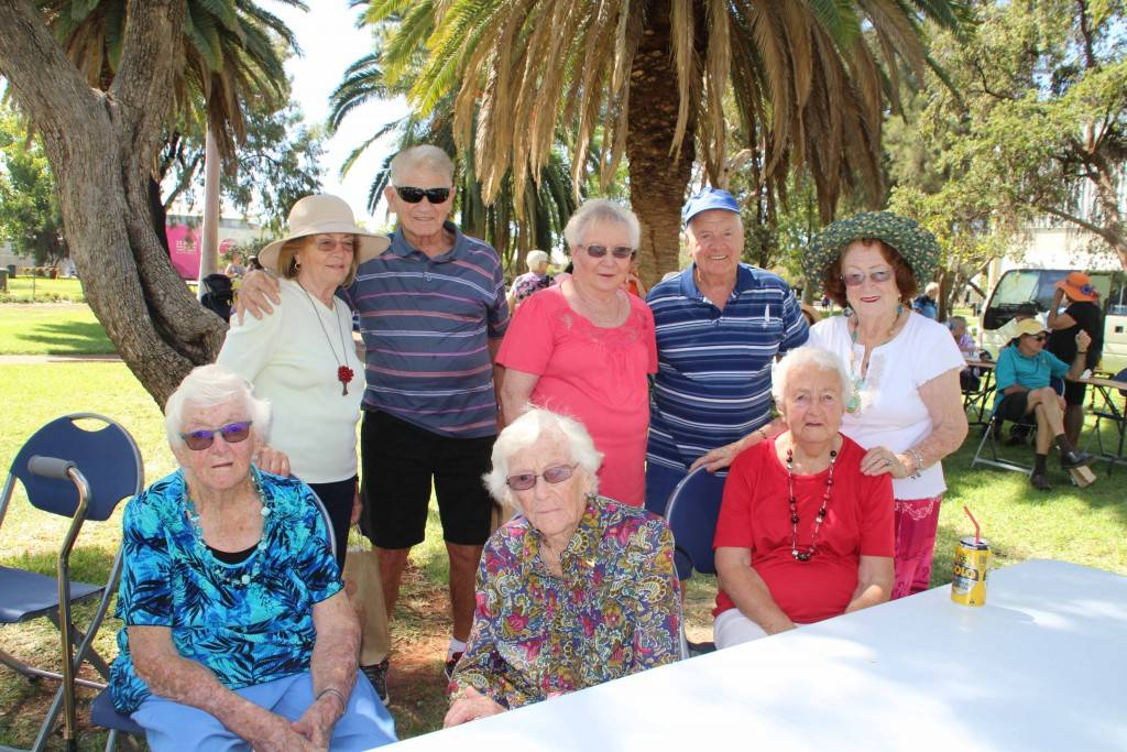 Cobar's senior residents and visiting seniors were treated to a barbecue lunch in Drummond Park on Sunday to kick off Seniors Week celebrations. Pictured are Dora and Frank Difilippo, Lillian and Roy Simpson and Mayor Lilliane Brady (at rear) with Joan Whiteman, Joan's sister Marg Betts from Brewarrina and Phyllis Budd.