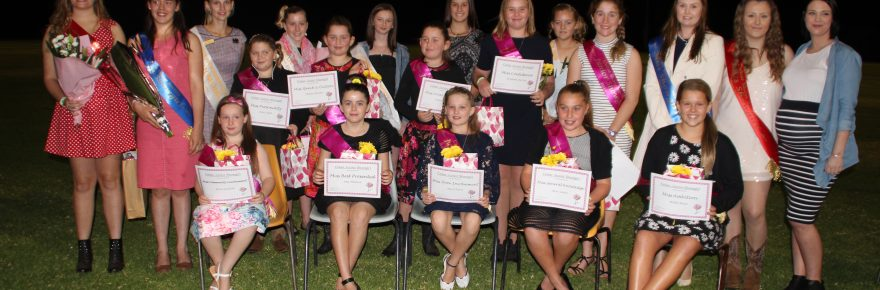 The 2016 Cobar Showgirl finalists at the official opening of Cobar Show on Friday night pictured with competition organiser Josie Anderson (third from left) and  sponsor Orana Mutual's representative Naomi Jesse-Huston (far right). Kristie Manns took out the title of the overall winner and Georgie Wilson was runner-up. The teen category winner was Sarah McClure with Summer-Rose Stingemore the runner-up. The junior category winners were: Miss Rural Knowledge Ruby-belle Stingemore; Miss Show Involvement Mia O'Hara; Miss Community Involvement Eloise Griffiths; Miss Best Presented Mia Muldoon; Miss Personality Mimi Clark; Miss Confidence Amabella Harvey; Miss Well Spoken Malina Bottom; Miss General Knowledge Neve Carter; Miss Local Knowledge Amara Bottom; and Miss Ambition Bridie Bruce.