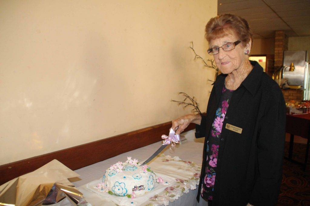 Margaret Wade yesterday celebrated her 99th birthday a few days early with a cake at the Cobar VIEW Club's April meeting at the Empire Hotel. Mrs Wade's friends have  also planned a morning tea and lunch for her actual birthday on Saturday.