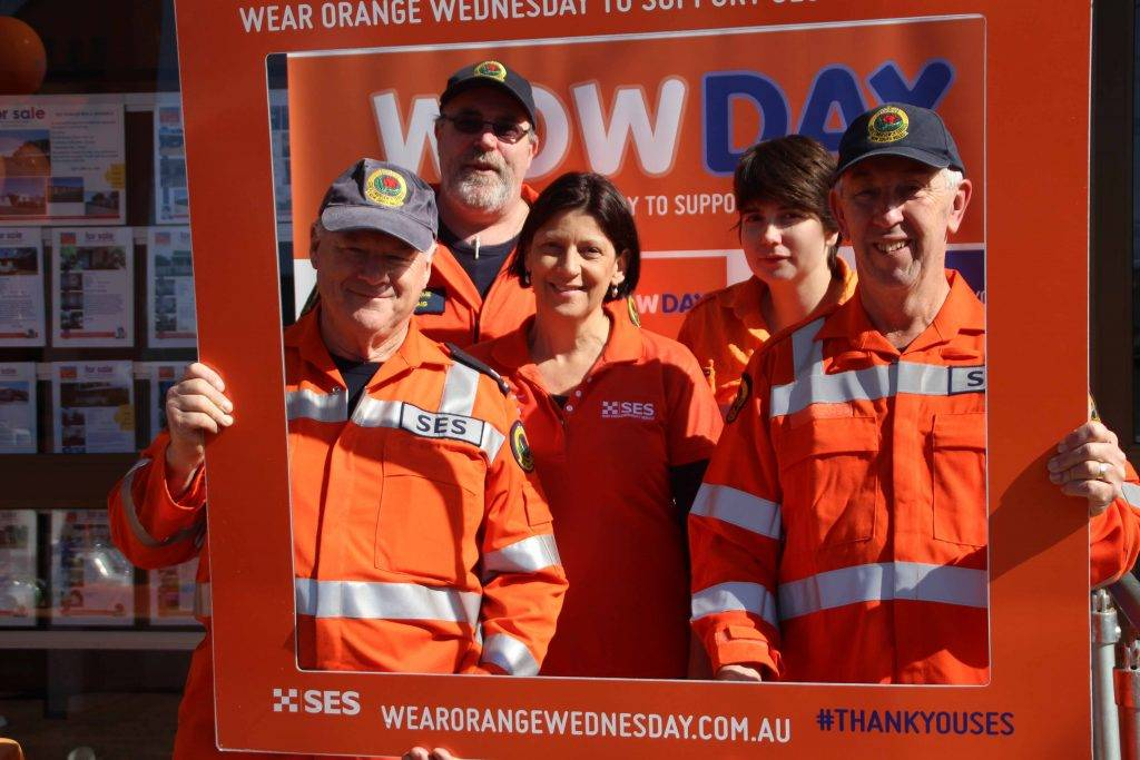 The Cobar State Emergency Services (SES) Unit staff held an information day and morning tea last Wednesday in Barton Street to mark Wear Orange Wednesday. The event, sponsored by NRMA, aims to promote awareness of the work the SES does in the local community. Pictured are SES members Gordon Hill, Graeme Craig (local NRMA agent Tracey Kings), Brooke Seaman and Lou Smalbil.