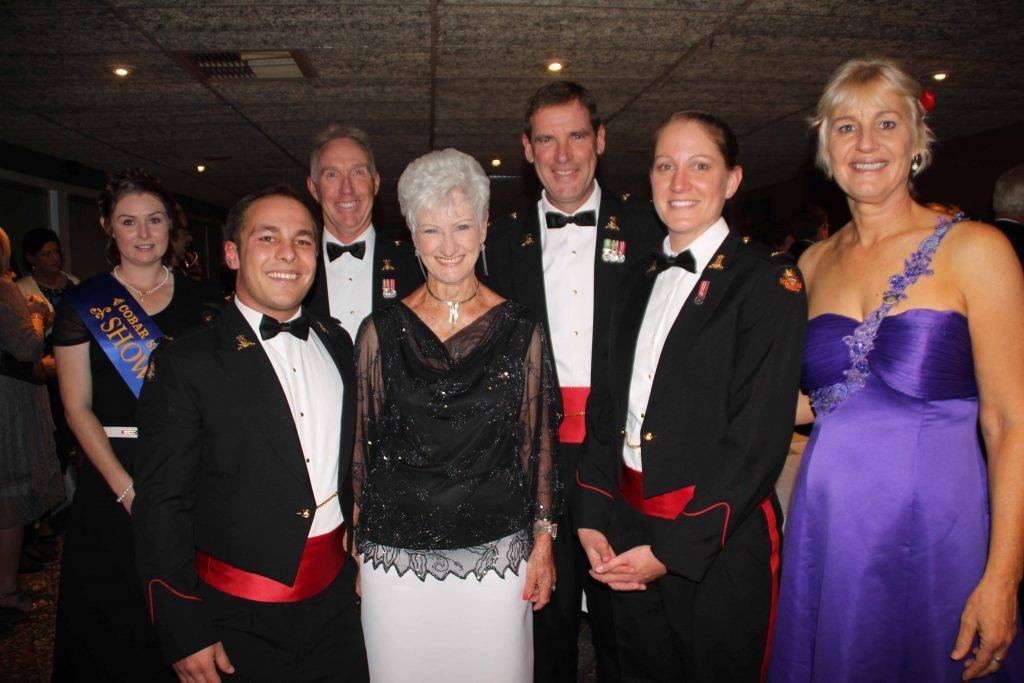 Ball-goers to this year's ANZAC Ball at the Services Club on Saturday night partied until the wee small hours with members of the Australian Army Band Kapooka. The ball, which is expected to become an annual event, was organised by the RSL Sub Branch of Cobar as a fundraiser for their World War I Memorial project in  Drummond Park. Pictured above at the ball are: 2016 Cobar Showgirl Kristie Manns, band member MUSN Jacob Curro, WO2 Graeme Hey, Hettie de Bruin, MAJ Lindsay Mee, MUSN Lorelei Williamson and Heather Christie. Top right: Scott and Miranda Riley; middle right: Stephanie Turley and Anita Hodgkinson; and bottom right: Scott Robinson and Michelle Green. The band backed it up on Sunday to  provide more great entertainment at the Market Day at the park.