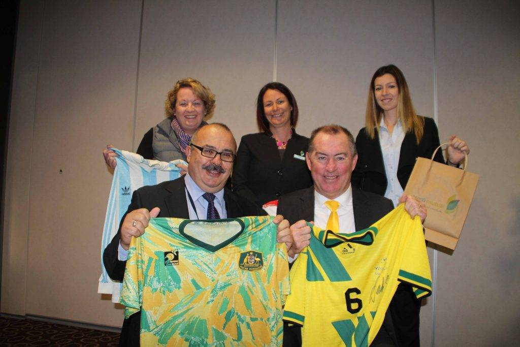 Former Australian Socceroo captain Paul Wade spoke to local business people about motivating their team members at a business breakfast hosted by Community Mutual at the Cobar Bowling & Golf Club last Friday. Mr Wade is pictured with Cobar Business Association president Sharon Harland, Cobar Shire Council general manager Peter Vlatko and Kelly Fairbank and Amy Coombes from the Community Mutual Cobar.
