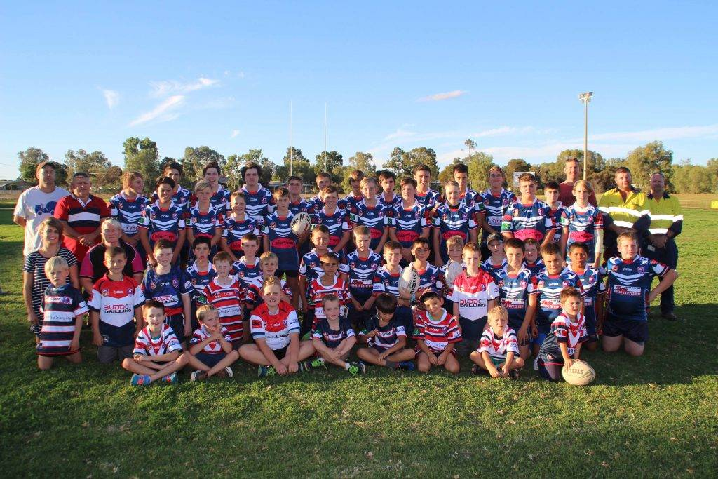 A large number of local businesses have signed up this year to sponsor the Cobar Junior Rugby League Football Club including: Orana Mutual, Clark & Son  Livestock, Cobar Signs, Barton's Pump Repairs, Cynend, Cobar Mining Contractors, Brush Stop,  Dr Indra's Surgery, NewGold, BuddCo, Atlas Copco, Roche's Bobcat & Tipper Hire, M&C Parisi Motorcycles and Sam Baker Electrical. Players from the Under 6s, Under 8s, Under 9s, Under 11s, Under 13s and Under 16s teams are  pictured above with some of this year's sponsors at the club's jersey unveiling last Thursday at Tom Knight Memorial Oval.