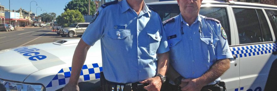 Constable David Bates has been welcomed to the district to take up the lock-up keeper's role at Nymagee. Constable Bates is pictured with Sergeant John Bennett who showed him around Cobar last week.