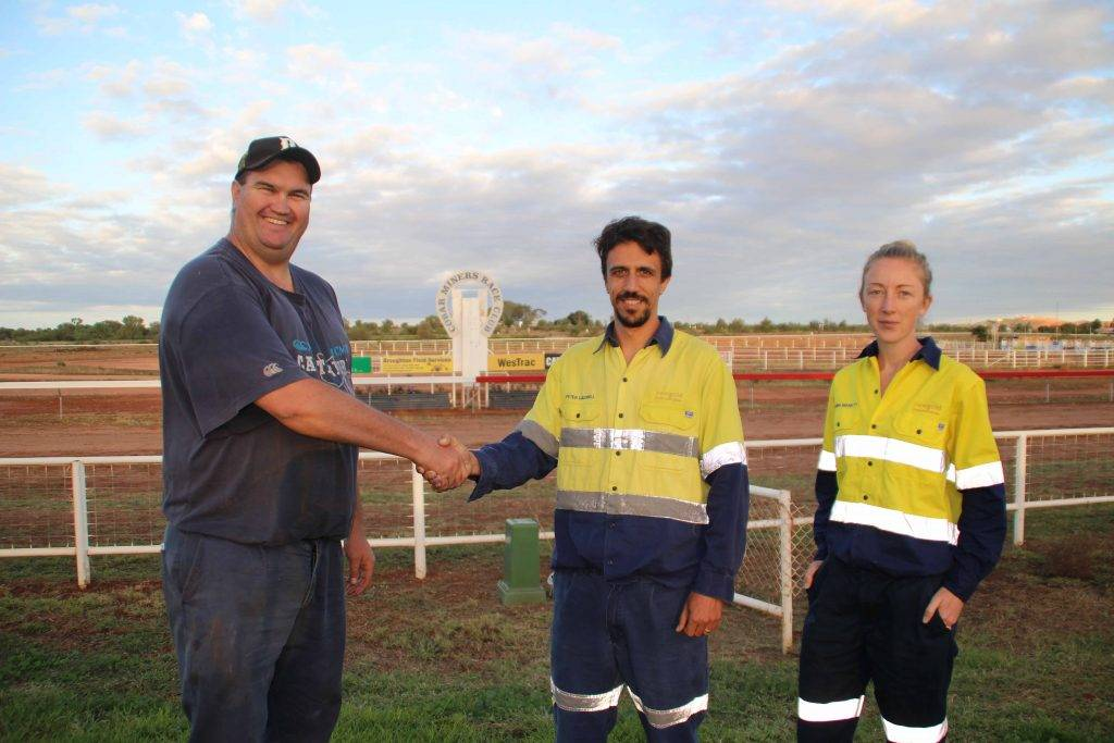 All the announcements at this Saturday's Cobar race meeting should come through loud and clear thanks to a donation from NewGold Peak Gold Mines to upgrade the Cobar Miners Race Club's PA system. Pictured above on Monday at the track are race club president Jarrod Marsden with Peak's mine manager Peter Caldwell and  environmental and social responsibility advisor Jenna Marett. Mr Caldwell said Peak felt they had not been getting enough value out of their sponsorship of the  Golden Dash and wanted to put their donation towards something that would have a longer term outcome for the club and for the Cobar community.