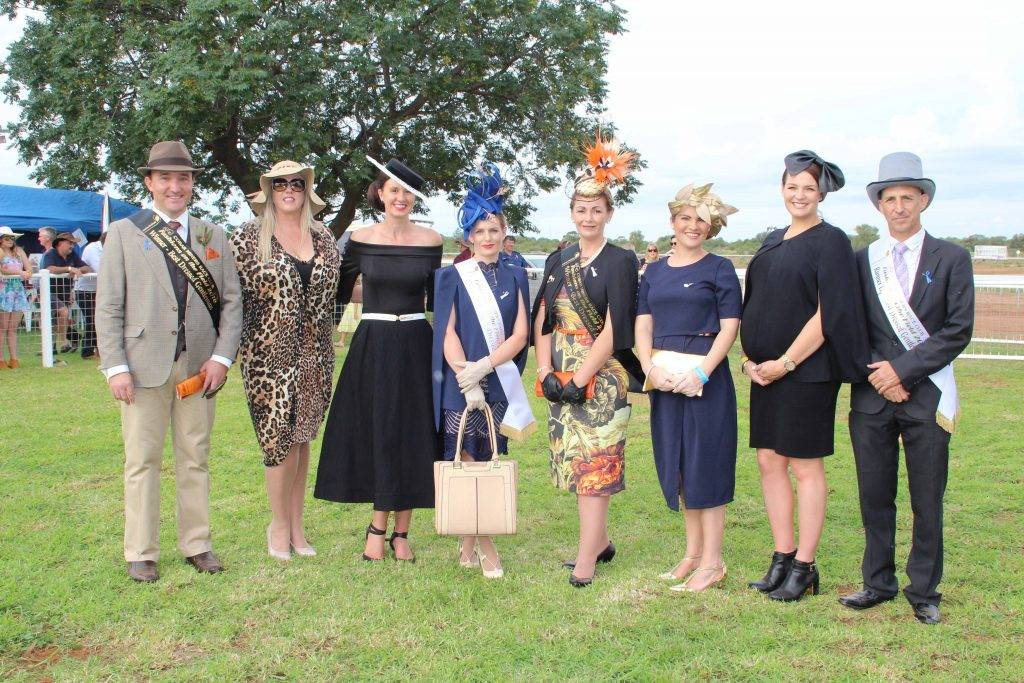 The Fashions on the Field competition took some of the focus off the horses at the Cobar Miners Race Club race meeting on Saturday. Pictured at the presentations are Scott Robinson (Best Dressed Gentleman); Annelien van der Mescht (Fashion on the Field judge); Janette Booth (Fashions on the Field coordinator and judge); Eden McBride (Runner-up Best Dressed Lady); Michelle Green (Best Dressed Lady); Brooke McGregor (Highly Commended); Jayme Francisco (Fashions on the Field judge) and Damian Wray  (Runner-up Best Dressed Gentleman).