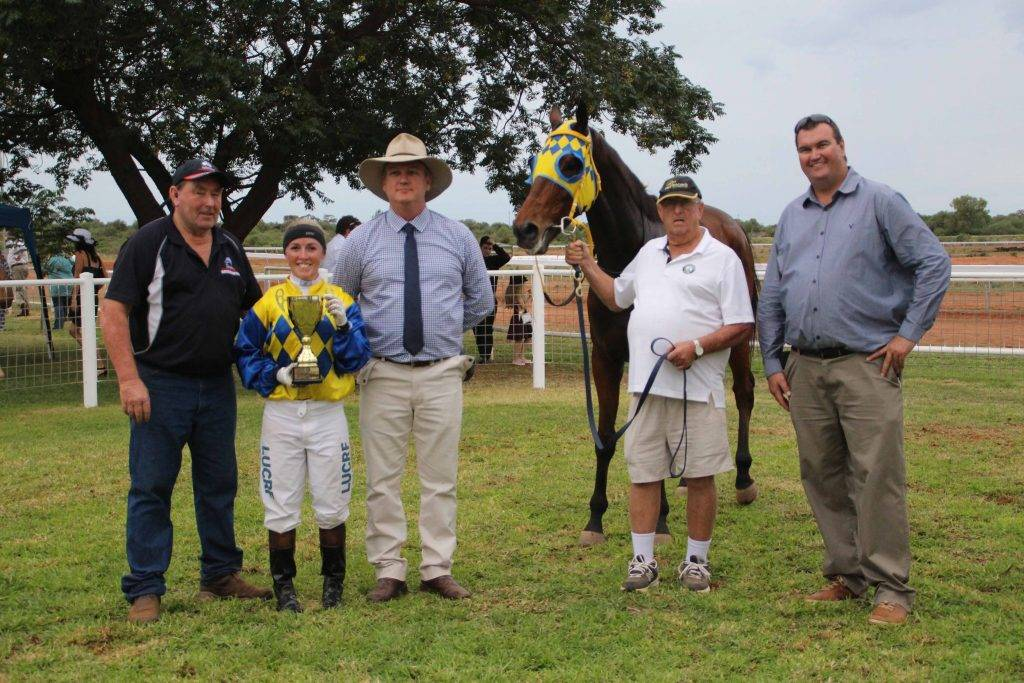 War Horse was the winner of the WesTrac 2016 Cobar Cup. Pictured at the cup  presentations on Saturday are owner/trainer Russell Green from Wangaratta (Victoria), jockey Tiffany Jeffries, WesTrac Mining Sales Manager Richard Peck, strapper Ron Flanaghan and Cobar Miners Race Club president Jarrod Marsden.