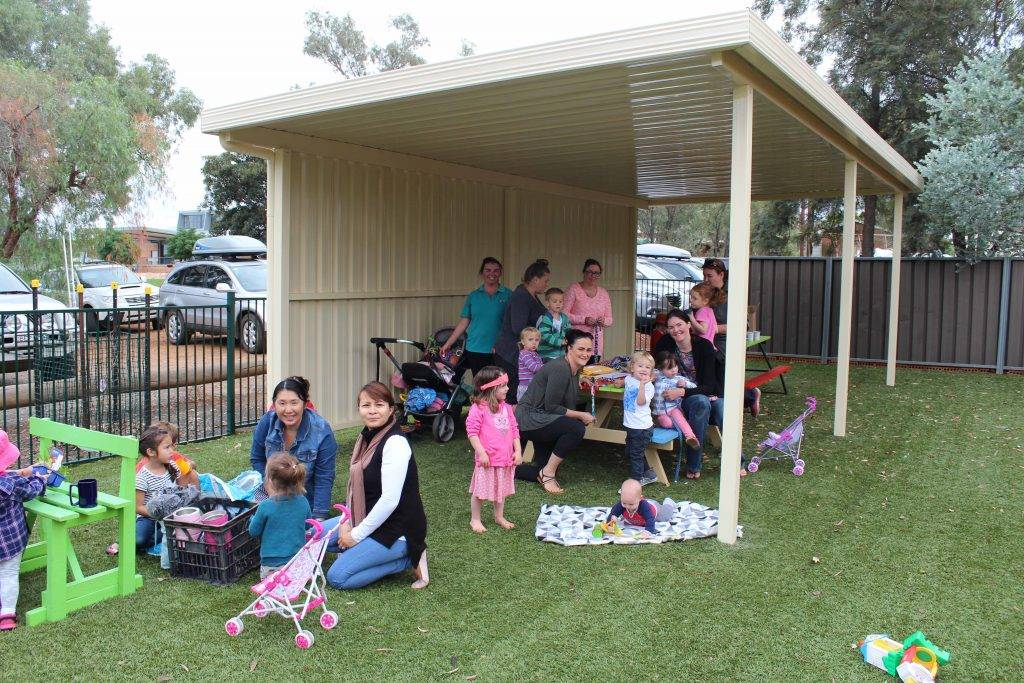 Cobar & District Mothers Association (pictured above on Monday) are one of many groups to benefit from a new permanent shade structure at Cobar Uniting Church Hall which was funded by a grant through the Rotary Club of Cobar.